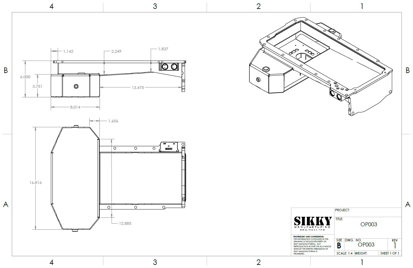 Sikky Universal LSx Swap Oil Pan- Front Sump Style 2